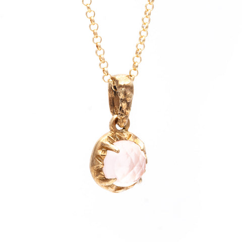 MATRIX HALO NECKLACE | 14k GOLD & ROSE QUARTZ