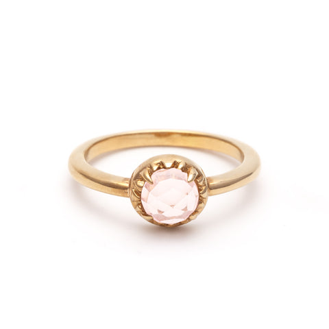 MATRIX HALO RING | 14k GOLD & ROSE QUARTZ - AngelaMonacojewelry