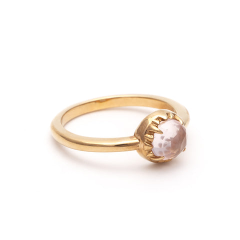 MATRIX HALO RING | 14k GOLD & ROSE QUARTZ
