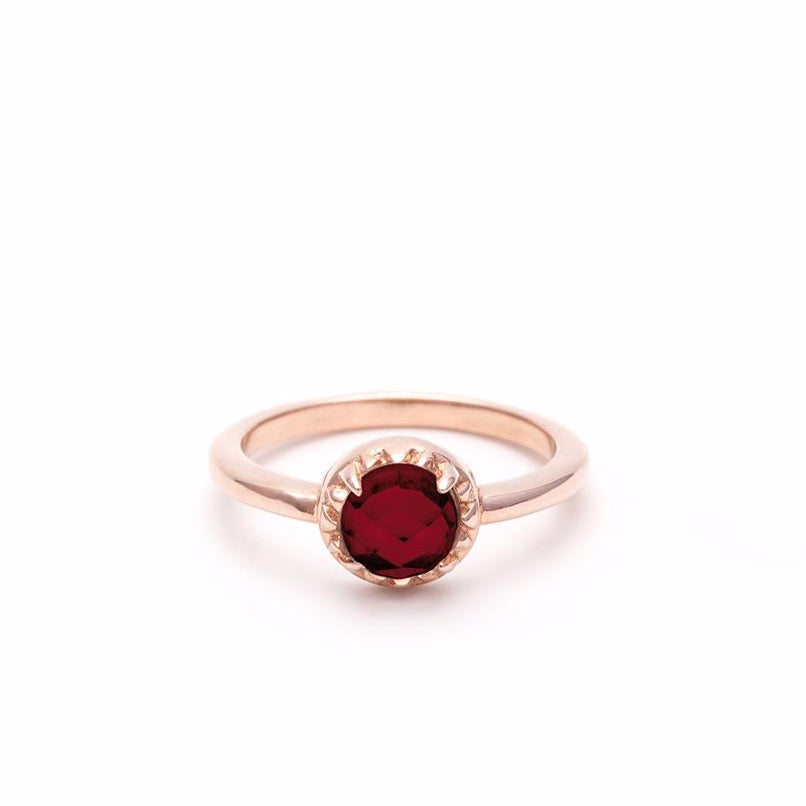 MATRIX HALO RING | ROSE GOLD VERMEIL & GARNET - AngelaMonacojewelry
