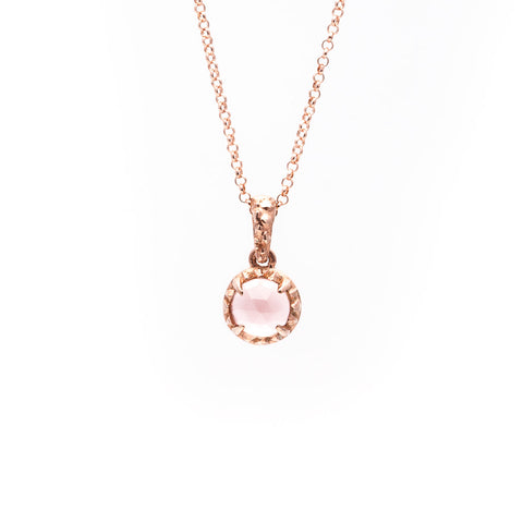 MATRIX HALO NECKLACE | ROSE GOLD & ROSE QUARTZ - AngelaMonacojewelry