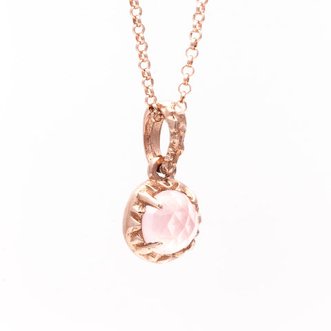 MATRIX HALO NECKLACE | 14K ROSE GOLD & ROSE QUARTZ - AngelaMonacojewelry