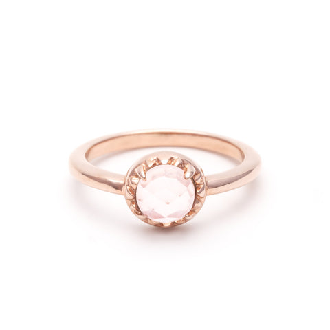 MATRIX HALO RING | ROSE GOLD & ROSE QUARTZ - AngelaMonacojewelry