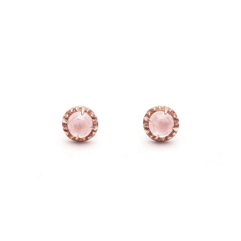 MATRIX HALO STUDS | ROSE GOLD VERMEIL & ROSE QUARTZ - AngelaMonacojewelry