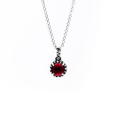 MATRIX HALO NECKLACE | SILVER & GARNET - AngelaMonacojewelry