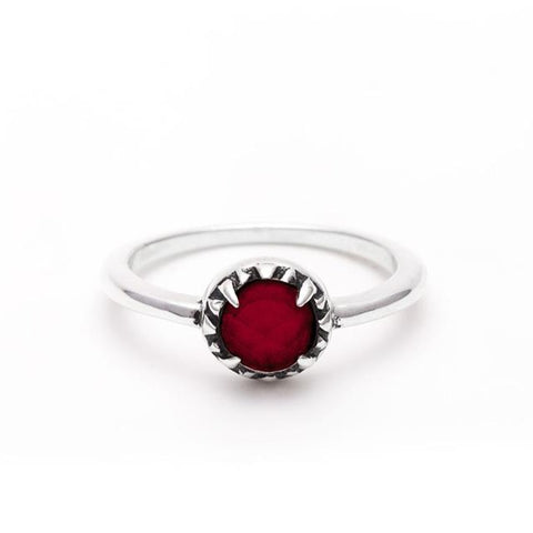 MATRIX HALO RING | SILVER & GARNET - AngelaMonacojewelry