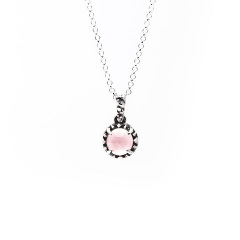 MATRIX HALO NECKLACE | SILVER & ROSE QUARTZ