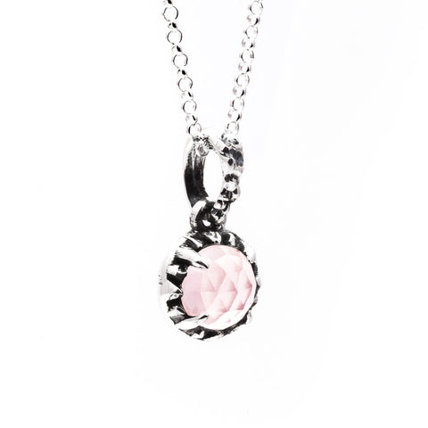 MATRIX HALO NECKLACE | SILVER & ROSE QUARTZ - AngelaMonacojewelry
