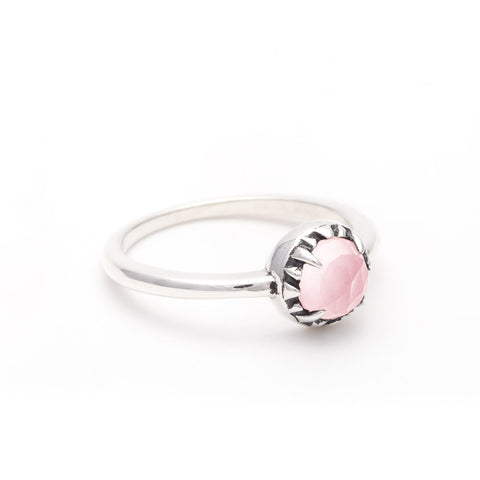 MATRIX HALO RING | SILVER & ROSE QUARTZ - AngelaMonacojewelry