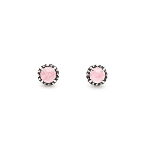 MATRIX HALO STUDS | SILVER & ROSE QUARTZ - AngelaMonacojewelry