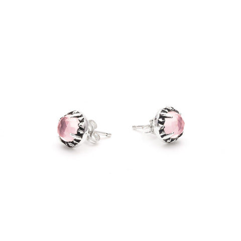 MATRIX HALO STUDS | SILVER & ROSE QUARTZ