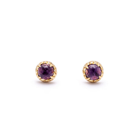 MATRIX HALO STUDS | GOLD VERMEIL & AMETHYST - AngelaMonacojewelry