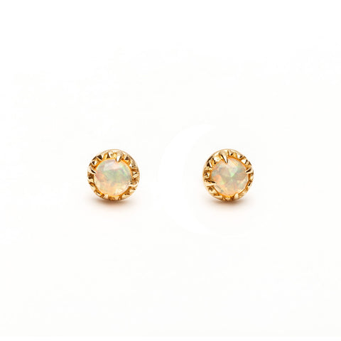 MATRIX HALO STUDS | GOLD VERMEIL & OPAL - AngelaMonacojewelry