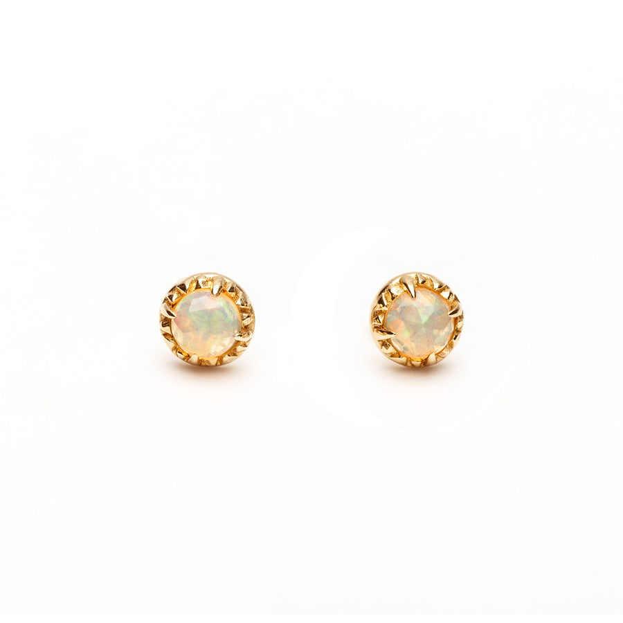 READY TO SHIP | MATRIX HALO STUDS | GOLD VERMEIL & OPAL - AngelaMonacojewelry