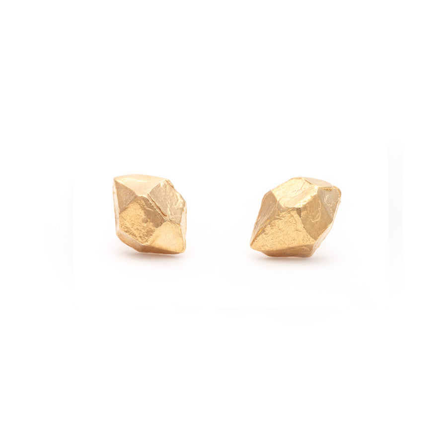MEDIUM QUARTZ STUDS | GOLD VERMEIL - AngelaMonacojewelry