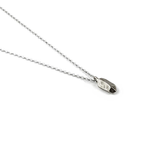 CAST CRYSTAL NECKLACE PETITE | SILVER - AngelaMonacojewelry