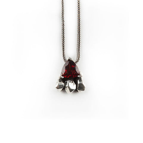 FEATHER SPEAR NECKLACE | SILVER & GARNET - AngelaMonacojewelry