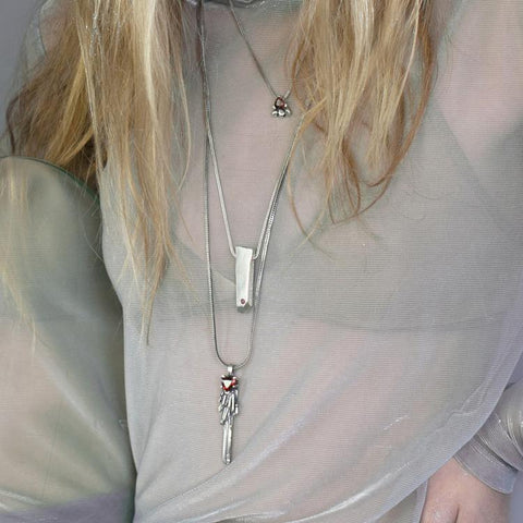 FEATHER SPEAR NECKLACE | SILVER & LABRADORITE - AngelaMonacojewelry