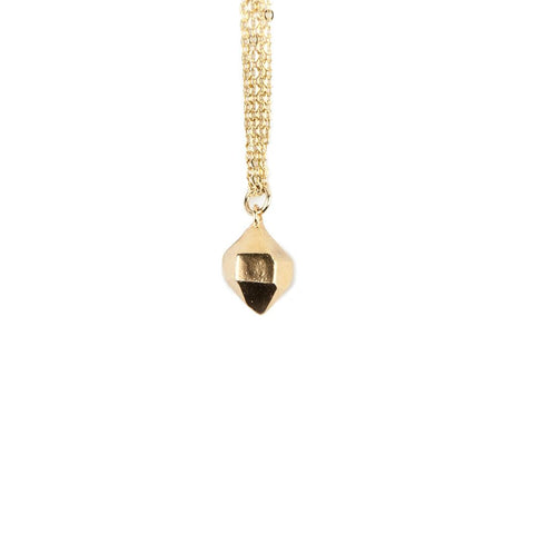 HEXAGONAL CAST CRYSTAL NECKLACE | GOLD VERMEIL - AngelaMonacojewelry