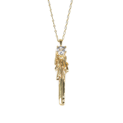 Necklace - KEY TO THE UNKNOWN | GOLD VERMEIL & HERKIMER DIAMOND