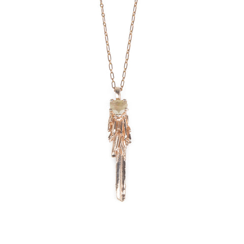 Necklace - KEY TO THE UNKNOWN | ROSES GOLD VERMEIL & RUTILATED QUARTZ