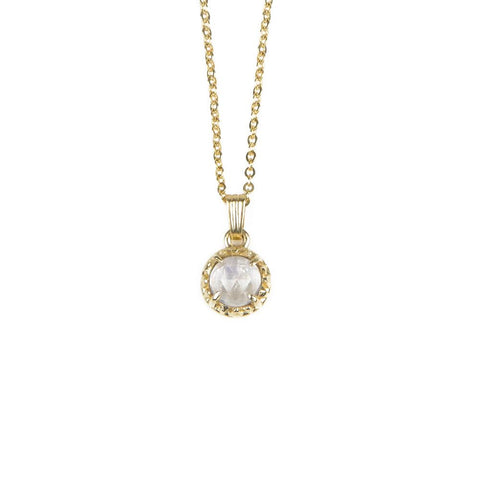 MATRIX HALO NECKLACE | GOLD VERMEIL & MOONSTONE - AngelaMonacojewelry