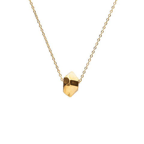 CAST CRYSTAL NECKLACE WITH SLIDING CHARM | GOLD VERMEIL - AngelaMonacojewelry