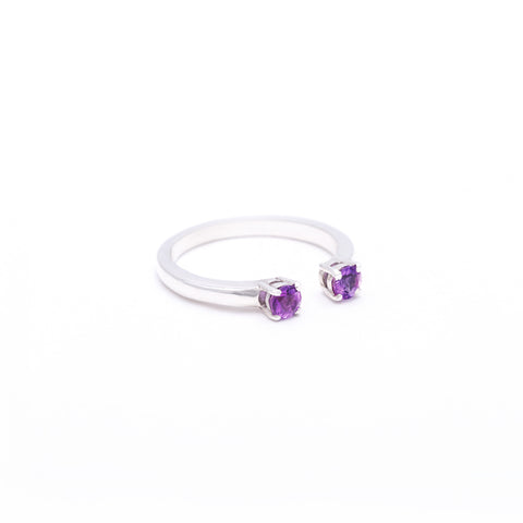 OPEN PASSAGE RING | SILVER & AMETHYST - AngelaMonacojewelry