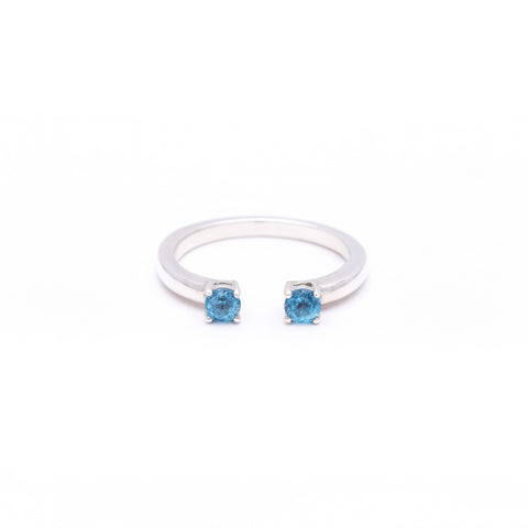 OPEN PASSAGE RING | SILVER & BLUE TOPAZ - AngelaMonacojewelry