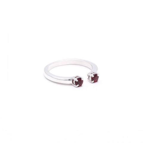 OPEN PASSAGE RING | SILVER & GARNET - AngelaMonacojewelry