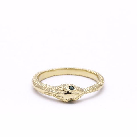 OUROBOROS RING | 14k GOLD & EMERALD - AngelaMonacojewelry