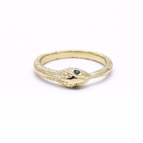 READY TO SHIP | OUROBOROS RING | 14k GOLD & EMERALD - AngelaMonacojewelry