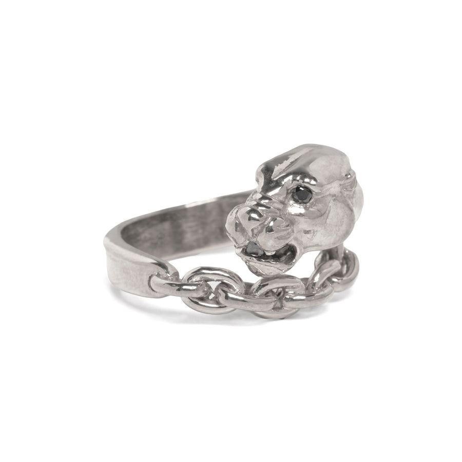 IN STOCK | PANTHER IN CHAINS RING | SILVER & BLACK DIAMOND