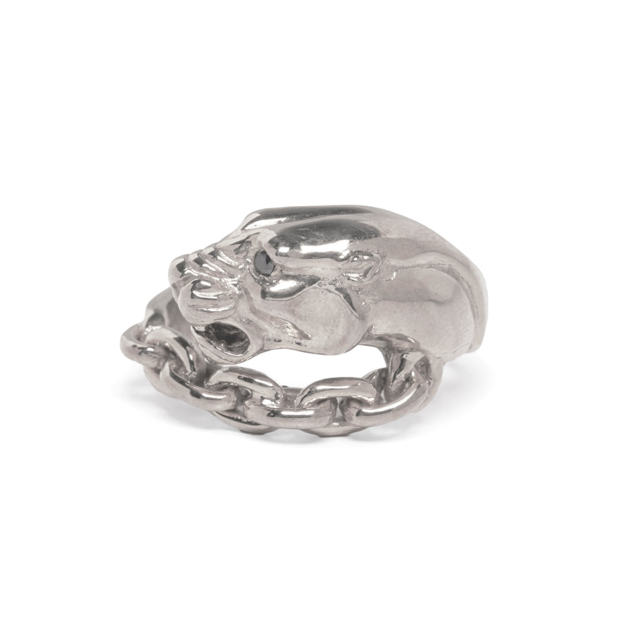 VINTAGE PANTHER IN CHAINS RING | SILVER & BLACK DIAMOND