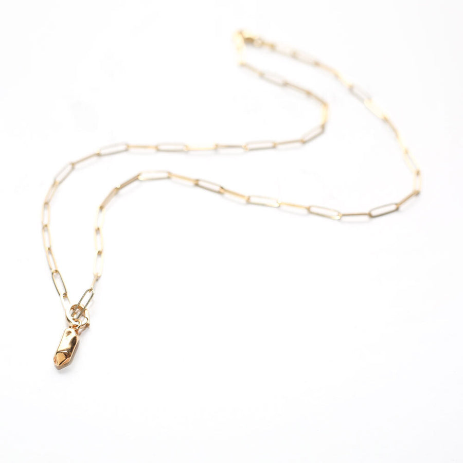 PAPERCLIP CHAIN WITH NUGGET CHARM | 14K YELLOW GOLD