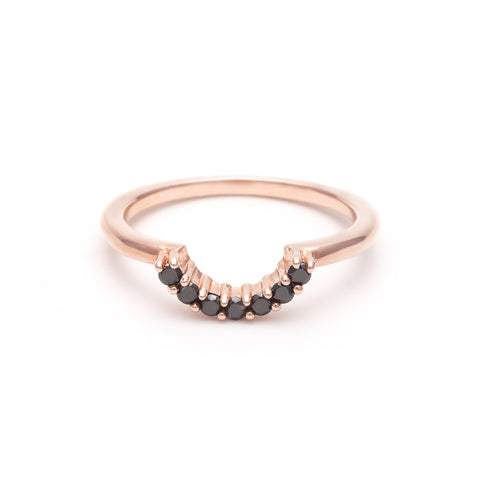 PAVE ARC CONTOUR BAND | ROSE GOLD & BLACK DIAMOND - AngelaMonacojewelry