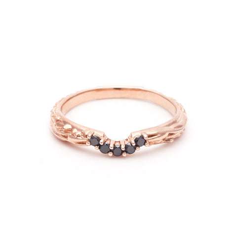 READY TO SHIP | PAVE MATRIX CONTOUR BAND | ROSE GOLD VERMEIL & BLACK DIAMOND - AngelaMonacojewelry
