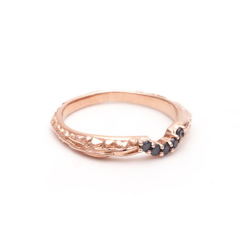 PAVE MATRIX CONTOUR BAND | ROSE GOLD & BLACK DIAMOND - AngelaMonacojewelry