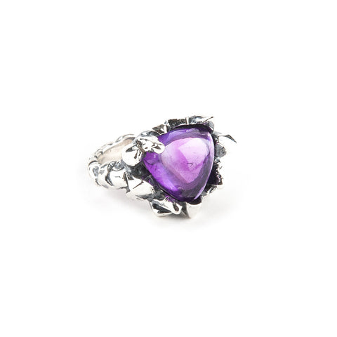 PRIMORDIAL MOUND RING | SILVER & AMETHYST - AngelaMonacojewelry