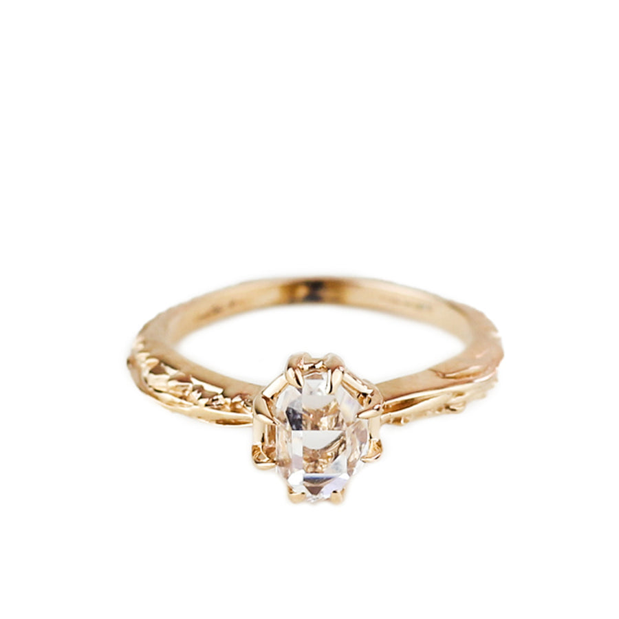RAW MATRIX SOLITAIRE RING | ROSE GOLD & HERKIMER