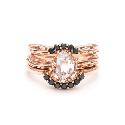 RAW SOLITAIRE UNION (No. 05) | ROSE GOLD & BLACK DIAMOND - AngelaMonacojewelry