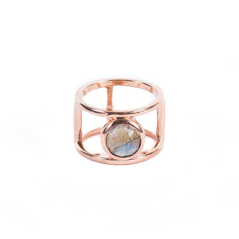 DOUBLE BAND RING | ROSE GOLD VERMEIL & LABRADORITE - AngelaMonacojewelry