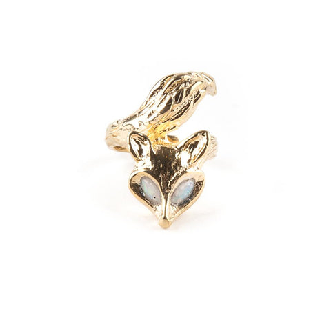 ENCHANTED FOX RING | GOLD VERMEIL & OPAL - AngelaMonacojewelry