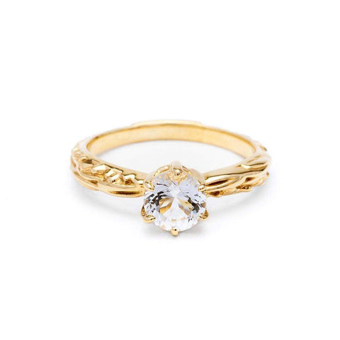 FACETED MATRIX SOLITAIRE RING | 14k GOLD - AngelaMonacojewelry