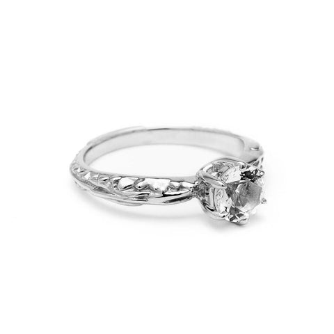 Rings - FACETED MATRIX SOLITAIRE RING | WHITE GOLD