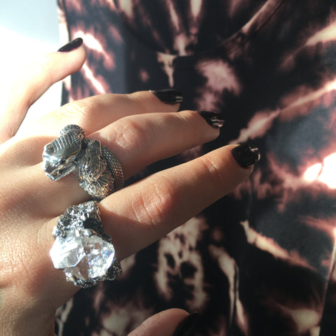 READY TO SHIP | CRYSTAL CAVERN RING | SILVER & HERKMIER - AngelaMonacojewelry