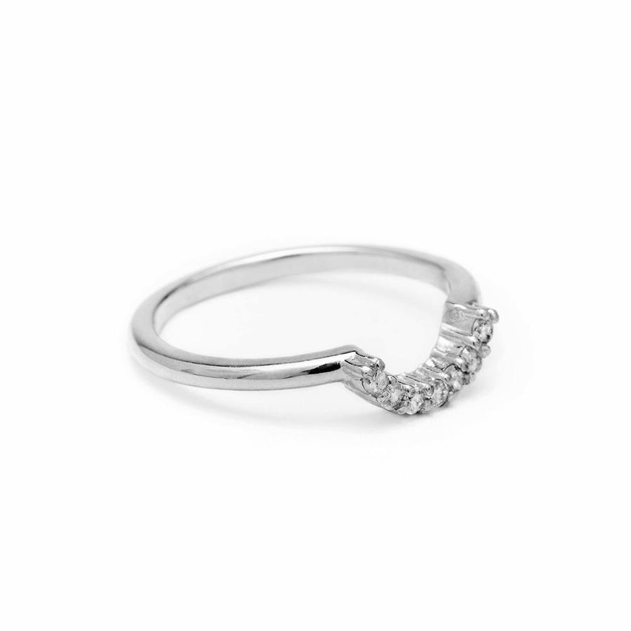PAVE ARC CONTOUR BAND | SILVER & DIAMOND - AngelaMonacojewelry
