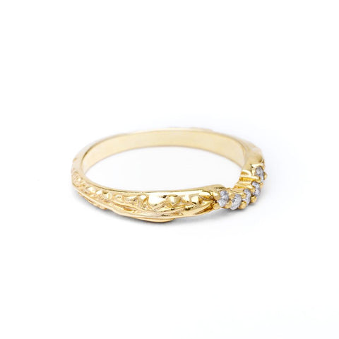 PAVE MATRIX CONTOUR BAND | 14k GOLD & DIAMOND - AngelaMonacojewelry