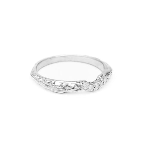 PAVE MATRIX CONTOUR BAND | SILVER & DIAMOND - AngelaMonacojewelry