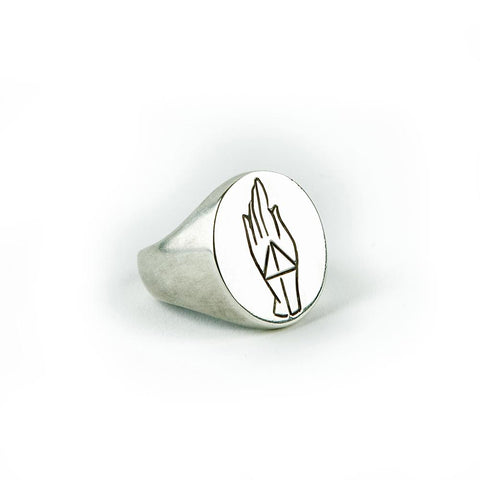 PROTECTION SIGNET RING | SILVER - AngelaMonacojewelry